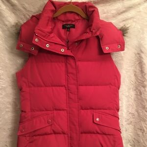 NWT Talbots Vest Faux Fur Hood Rose Size Small